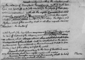 Draft Constitution for Virginia-no slaves grab